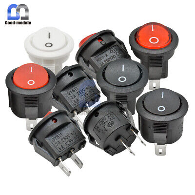15mm Round Rocker Switch 3A 250V LED Light Toggle Switch Red White Black ON/OFF