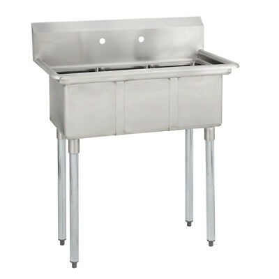 3 Three Compartment Commercial Stainless Steel Sink 35 X 19.8 G