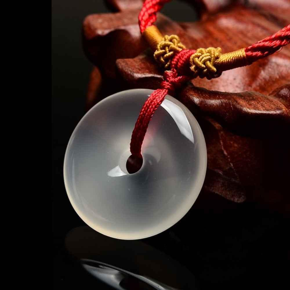 Natural Icy Translucent Jadeite Jade Chinese Ancient BI Pendant FREE NECKLACE