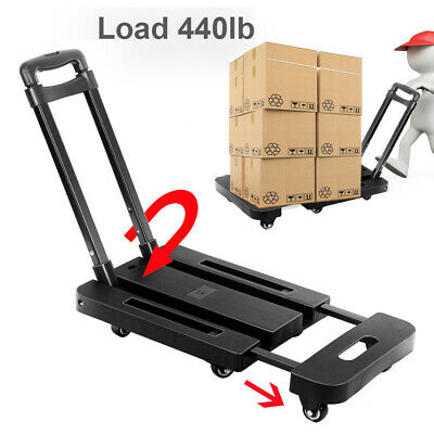 440lbs Folding Luggage Cart Hand Truck Dolly Push Collapsible Trolley W6 Wheels