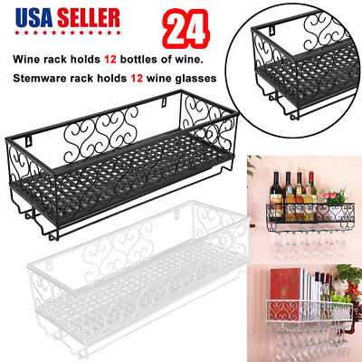 - Wall Mount Metal Wine Rack Storage Shelf Glass Holder Hanging Home Kitchen Decor
