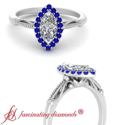 Marquise Cut Diamond And Sapphire Antique Floral Halo Engagement Ring 0.65 Carat