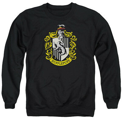 HARRY POTTER HUFFLEPUFF CREST Licensed Adult Pullover Crewneck Sweatshirt SM-3XL