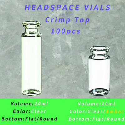 20mm Crimp Neck Vials Bevelled 10ml20mlclearamberflatround Bottom 100pcs