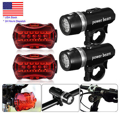 2 x 5 LED Lamp Waterproof Bike Bicycle Front Head Light + Rear Safety Flashlight