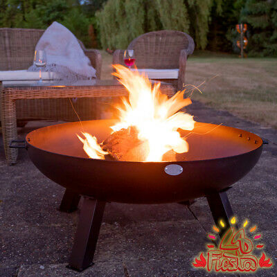 Fire Pit & Ice Bowl Black Outdoor Heating Carbon Steel Firepit Black Outdoor