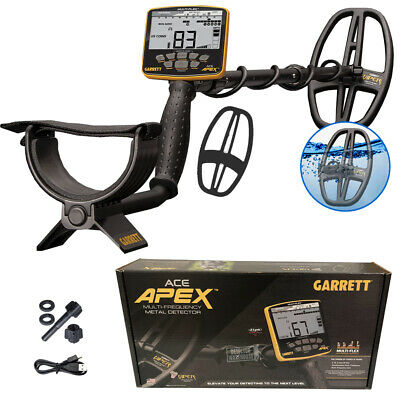 Pre-owned Garrett Ace Apex Multi-frequency Metal Detector W 6 X 11 Searchcoil