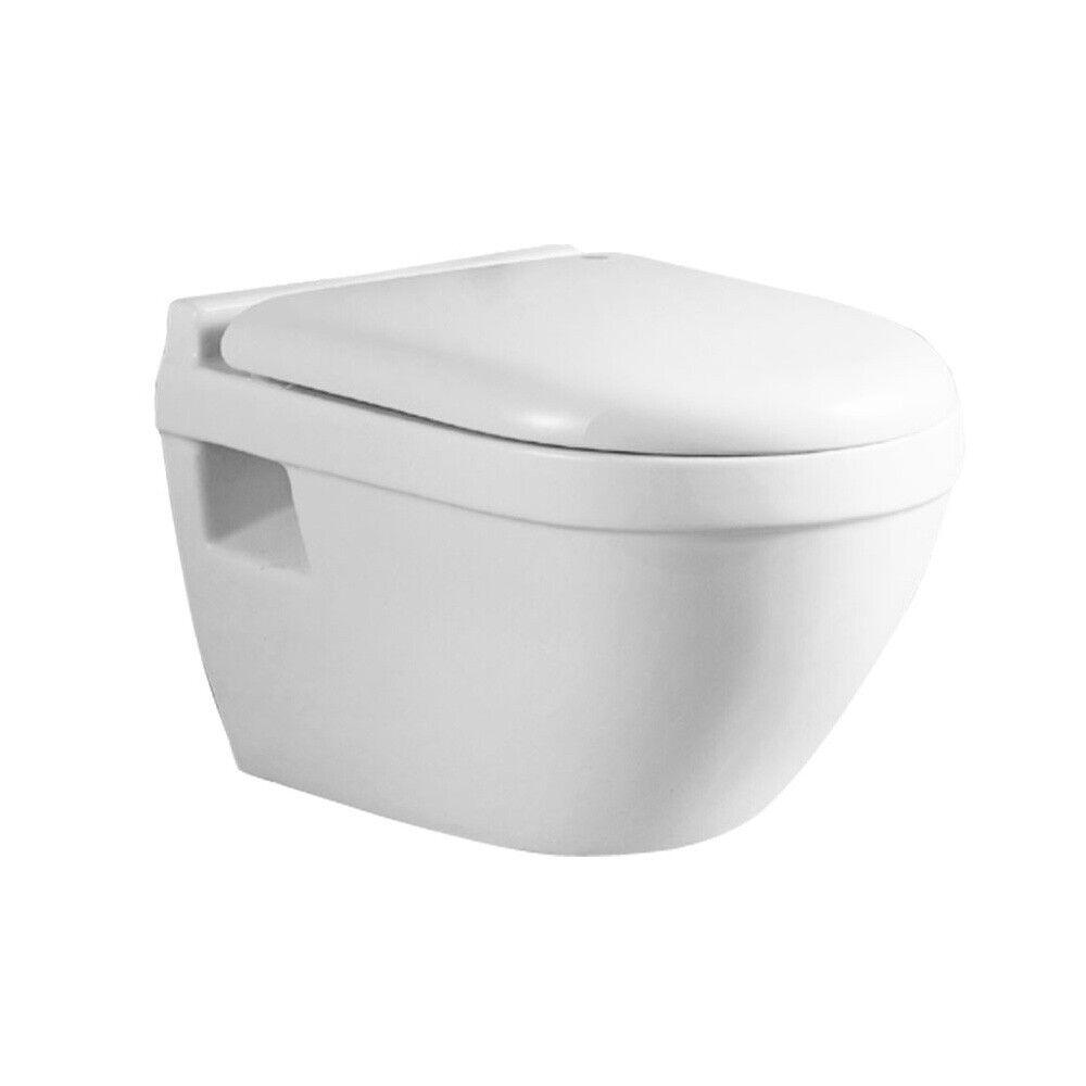 Sanlingo Keramik Wand Hänge Toilette Rund Softclose Weiß Tiefspüler WC