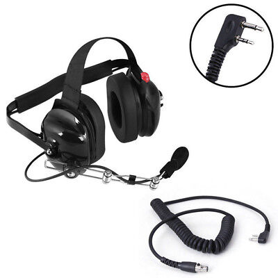 Pro Behind The Head Two Way Radio Race Headset w/ Microphone & Icom Cord Cable