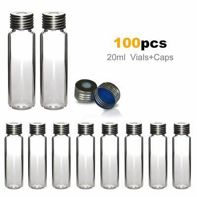 100pcs Lab 20ml Sample Storage Vials Clear Glass Bottle Wptfeliner Screw Caps