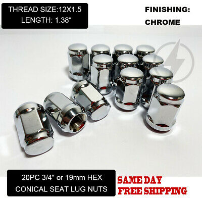 FIT DODGE AVENGER CALIBER GRAND CARAVAN ACORN LUG NUT CONE SEAT 12x1.5 CHROME 20