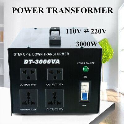 3000 Watt Voltage Converter Transformer Heavy Duty Step Updown 110-220v Us Plug