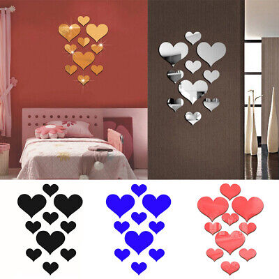 Removable Heart Shaped Mirror Wall Sticker Self Adhesive Decals Home DIY Decor (Heart Shaped Mirror)