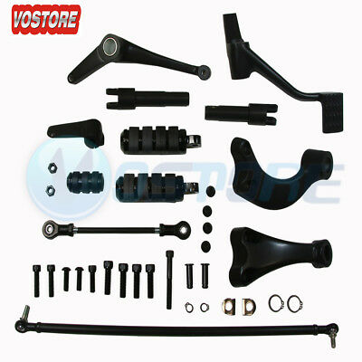 Black Forward Control Peg Levers Linkages for Harley Sportster XL 883 XL 1200