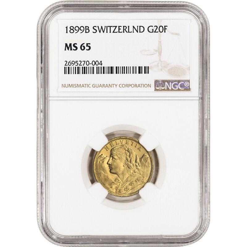 1899 B Switzerland Gold 20 Francs - NGC MS65