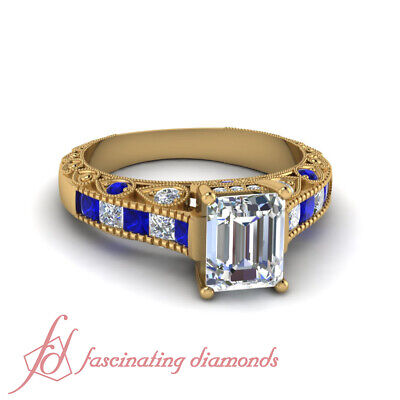 1.25 Carat Sapphire And Emerald Cut Diamond Milgrain Style Engagement Rings GIA