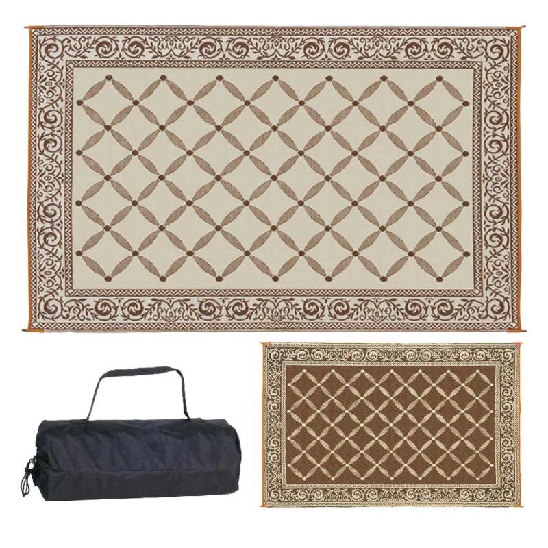 Reversible Mat Rv Patio Picnic Carpet Deck Camper Rug Outdoo