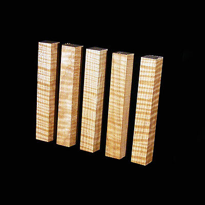 "5 Curly Maple Pen Blanks, AAA Figure, ¾""x5"", Craft turning, carving wood"