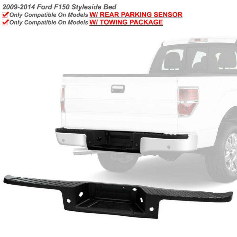 Rear Textured Black Bumper Face Bar Step Pad For 2009-2014 F150 w/Sensor Hole