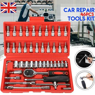 "46pcs Metric Socket Ratchet Wrench Set 1/4"" Drive Flexiable Car Repair Tools Kit"