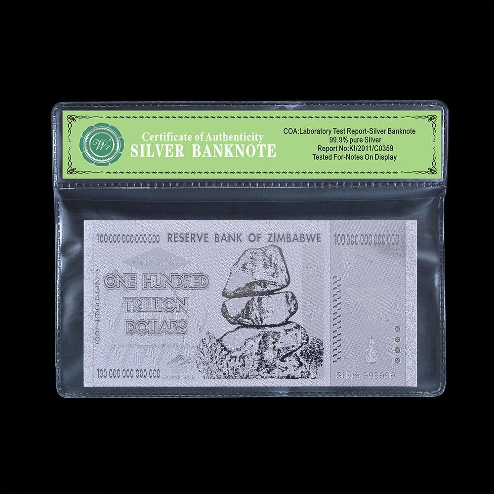 10x Zimbabwe 100 Trillion Dollar Banknote Color Silver Bill In Sleeve//w Rock COA