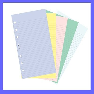 Personal Ruled Notepaper - Filofax Personal Assorted Coloured Notepaper Plain & Ruled Refill Insert 130502