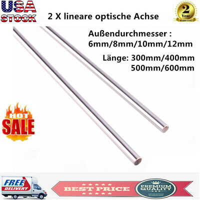 2pcs Od 68101216mm Cylinder Rail Linear Shaft Rod Optical Axis 300-1000mm Us