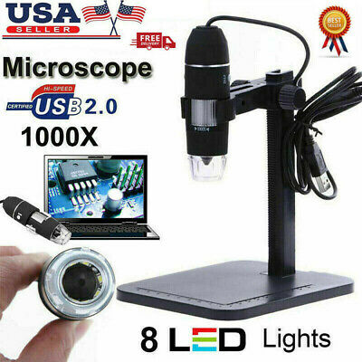 1000x 10mp Usb Zoom Digital Microscope Magnifier Camera Video Endoscope 8led Usa
