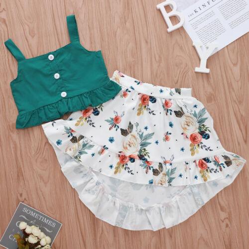Infant Baby Girls Kid Swing Tops + Flower Ruffle Skirt Summe