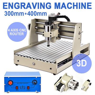 Cnc Router 4 Axis 400w 3040 Engraver 3d Cutter Woodworking Drill Machine Desktop