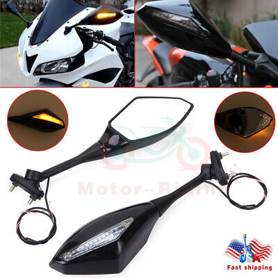 MOTORCYCLE LEFT & RIGHT REAR VIEW SIDE MIRROR WITH LED TURN SIGNAL FOR HONDA CBR