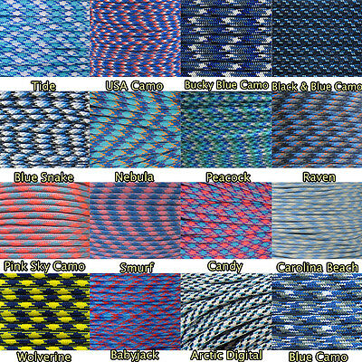 Multi Colored Blue Paracord 550 Commercial Grade Parachute rope 10' 25' 50' 100' - Blue Paracord