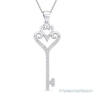 Double Heart Bow Love Charm Skeleton Key 925 Sterling Silver Pendant   Necklace