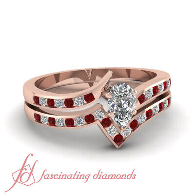 3/4 Carat Pear Shape Diamond And Ruby Twisted Edge Wedding Rings Channel Set GIA