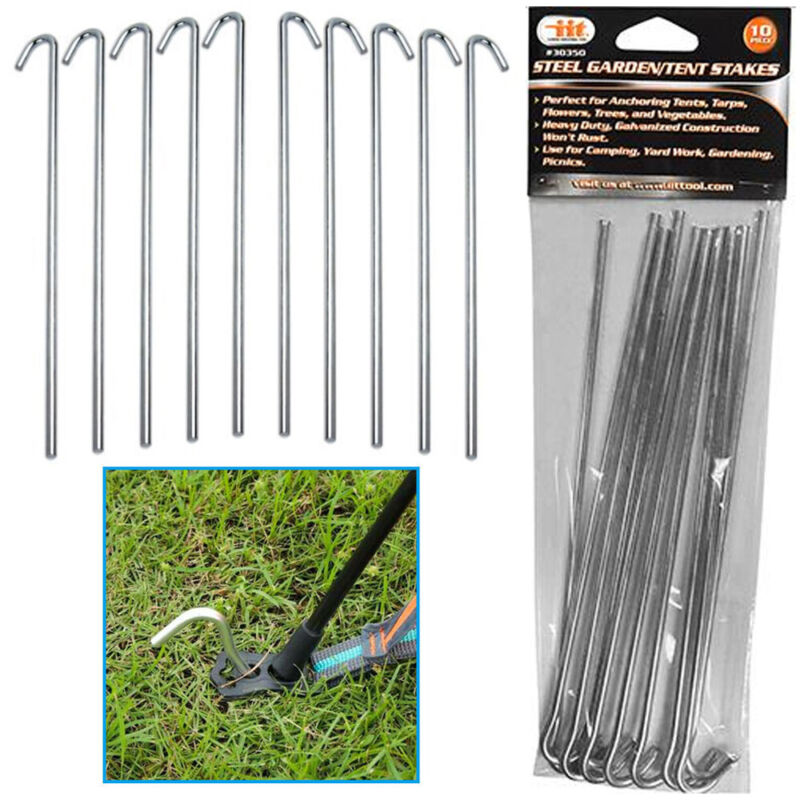 10 Pc Garden Tent Stakes Pegs Heavy Duty Steel Metal Anchor Picnic Camping Tarp