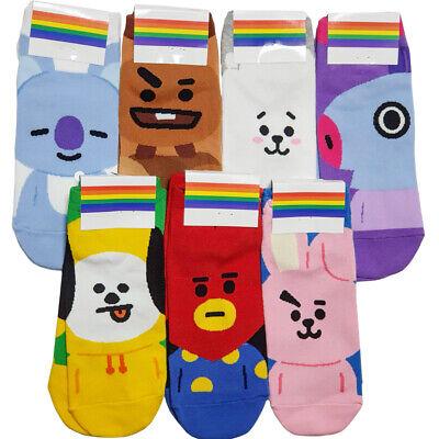 Women Cotton BTS BT21 Character Names Ankle Scoks Adult Sock Lot 7 Pair Set 5-10