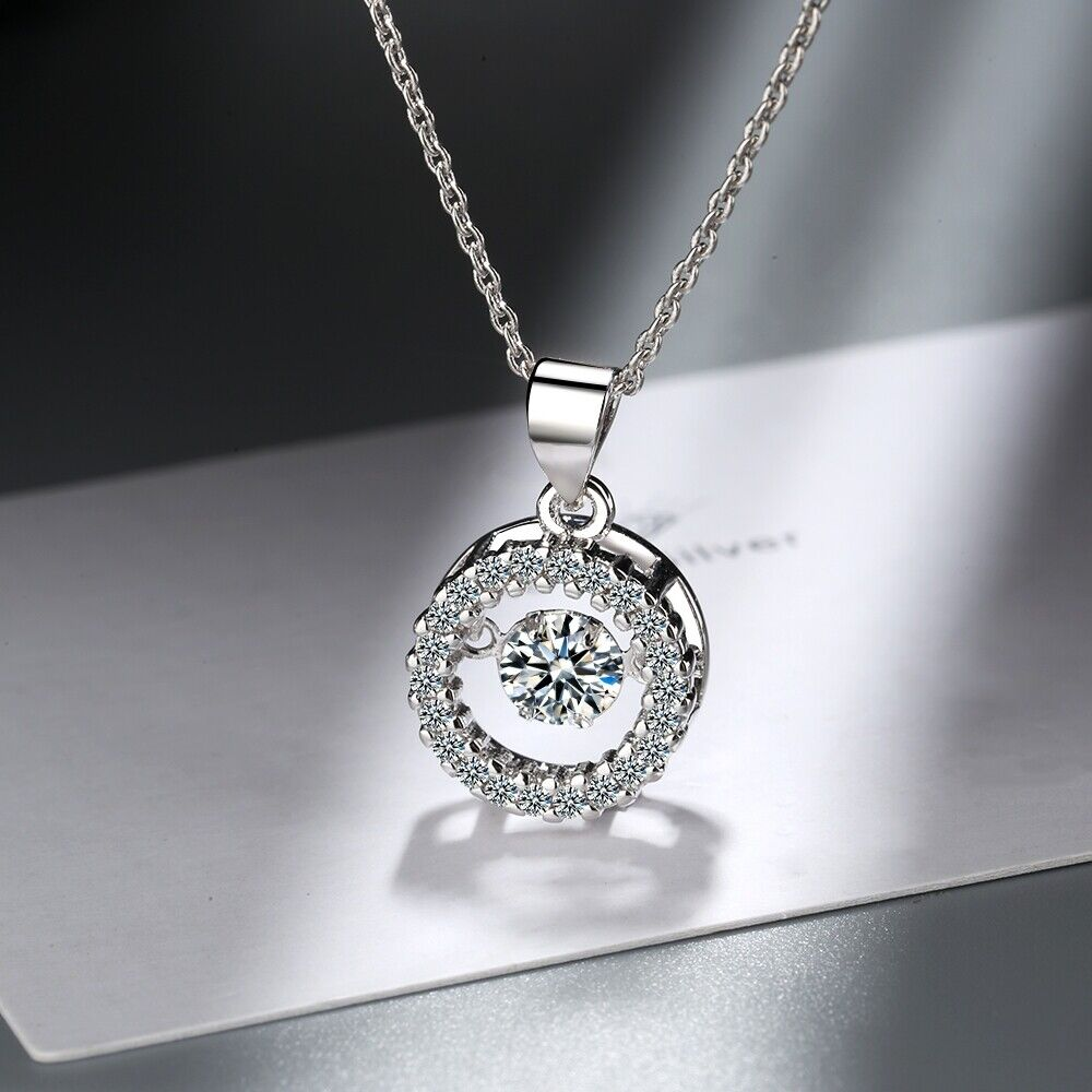 Jewellery - 925 Sterling Silver Round Twinkle Stone Chain Pendant Necklace Womens Jewellery