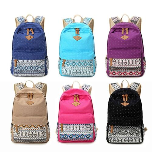 Women Canvas Mouse's Shoulder School Bag Backpack Travel Satchel Rucksack Handbag