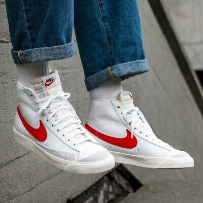 NIKE BLAZER MID '77 WHITE, BRICK RED : UK 9