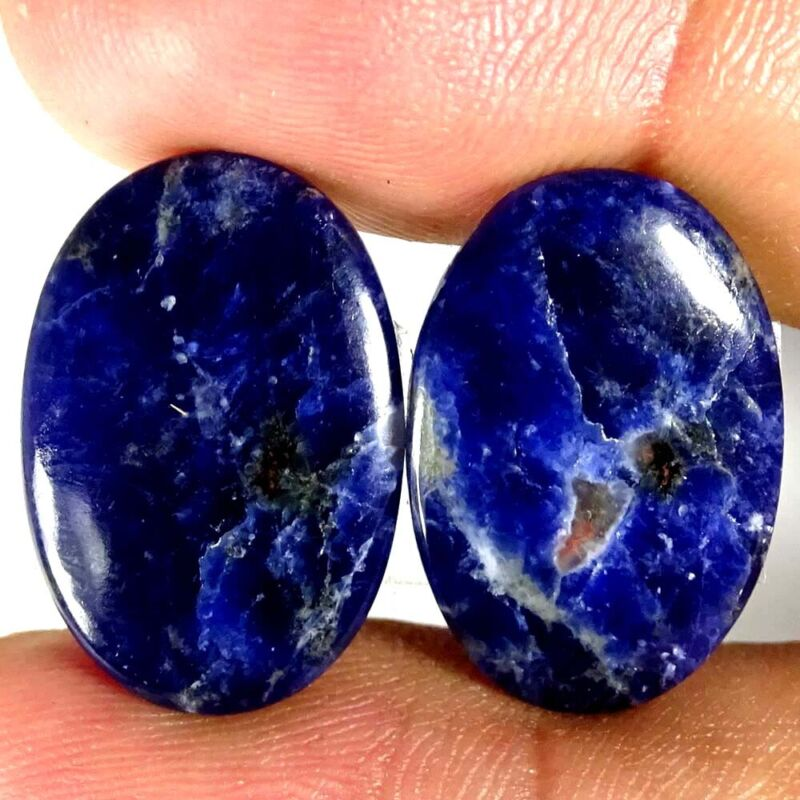 Blue Sodalite Natural Wonderful Matched Pair Oval Cab Loose Gemstone 27.30Cts.
