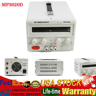Us Mp3020d Led Variable Linear Adjustable Lab Dc Bench Power Supply 0-30v 0-20a