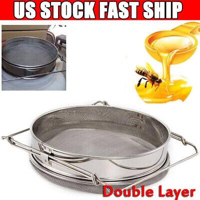 Stainless Steel Beekeeping Double Honey Sieve Strainer Filter Equip Tool