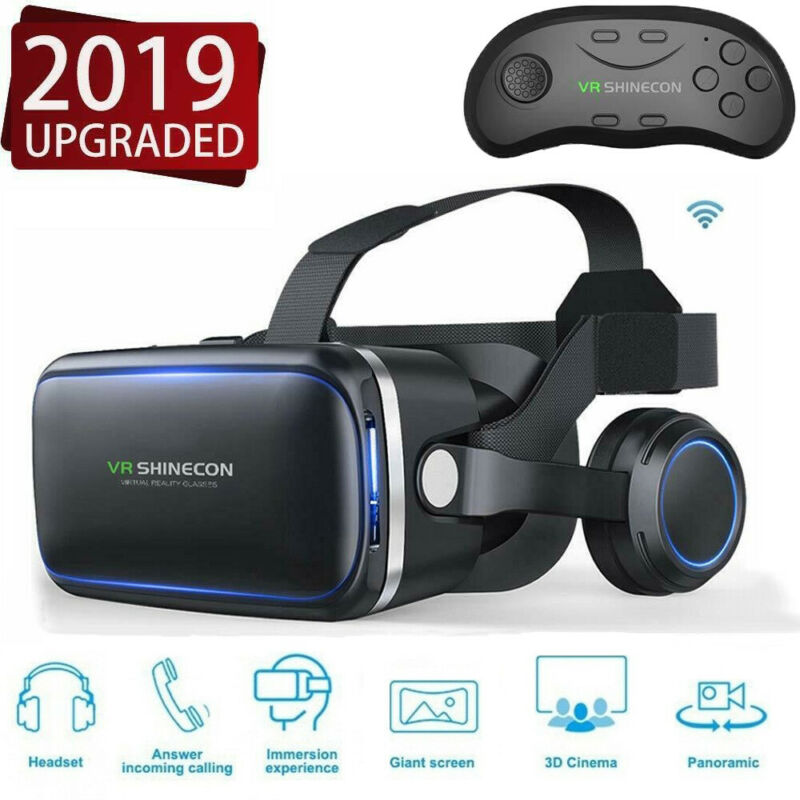 Virtual Reality Glasses 3D VR BOX w/ Headset Remote Control for iPhone Android