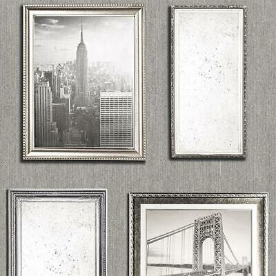 New York City Photo Frame Wallpaper Silver Grey Embossed Glitter Vintage Vinyl