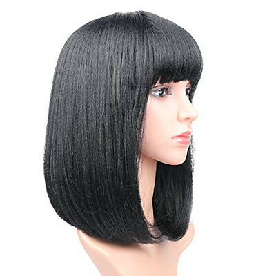 Lady Girl Bob Wig Women's Short Straight Bangs Full Hair Wigs Cosplay Party USA