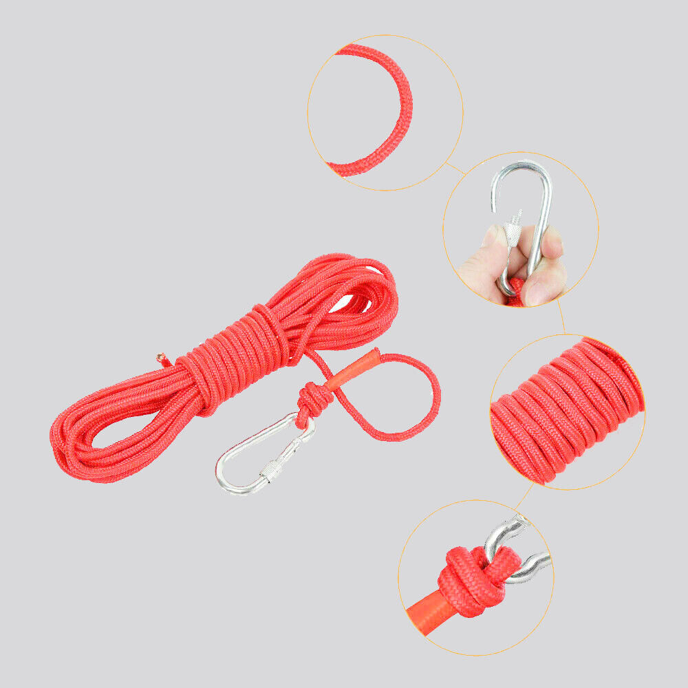 NEW UPTO 2000LB FISHING MAGNET KIT STRONG NEODYMIUM PULL FORCE WITH ROPE & CARABINER