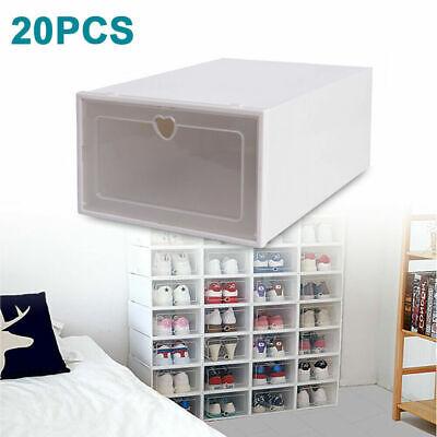 20PC cajas para zapatos caja de plástico con puerta transparente multiusos