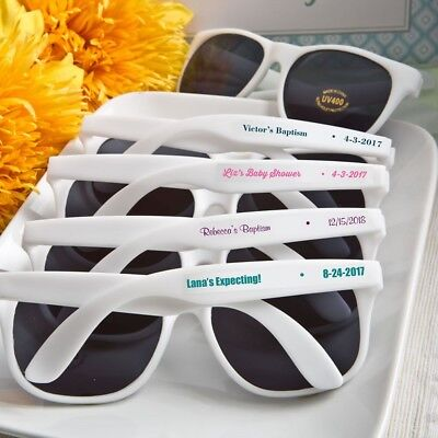 40 Personalized White Beach Sunglasses Baby Shower Birthday Party Event - Baby Shower Events