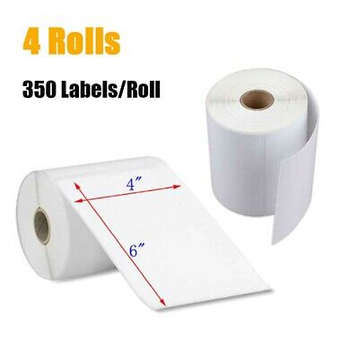 4 Rolls 350 Labels 4x6 Direct Thermal Shipping Label For Zebra 2844 Zp450 Zp500