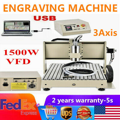 Vfd 3axis Cnc Metal Engraving Machine Usb Port 6040 Router Woodwor Cutter 1.5kw